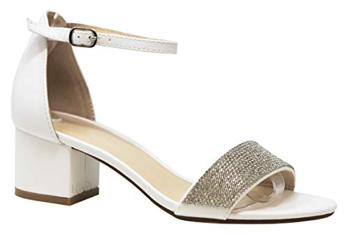 MVE Shoes Women's Open Toe Single Band Buckle Ankle Strap Chunky Low Mid Block Heel Sandal, ELDRED-02 White GLITT 9