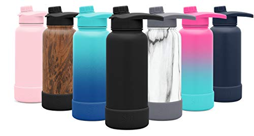 Simple Modern 18oz w/Boot Summit Water Bottle with Chug Lid - Hydro Vacuum Insulated Flask 18/8 Stainless Steel Powder Coated - Midnight Black ()