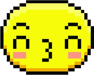 Cute Sweet Kawaii Pixelated Yellow Emoticon Emoji Cartoon