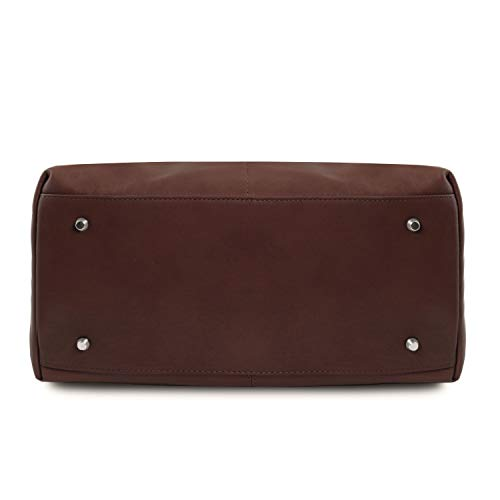 Leather en Oscuro Bolso Larga Piel Marrón Tuscany asa TLBag con Delanteros de Bolsillos Bordeaux qBddwZY