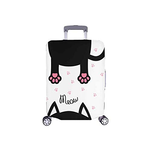InterestPrint Funny Cat Meow and Cat Paw Prints Travel Luggage Protector Baggage Suitcase Cover Fits 18