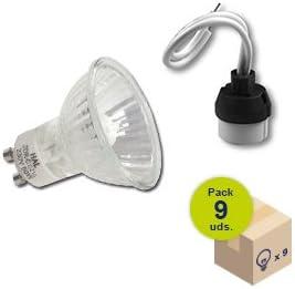 HALOTEC Pack 9 bombillas halogenas dicroicas GU10 regulables 230V 50 Vatios color cálido 2900º K con portalamparas incluidos GU10: Amazon.es: Iluminación