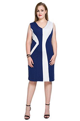 Mignon Bloc De Couleur Sans Manches Pour Les Femmes De Taille Plus Partie Ann Occasionnel Bleu Robe