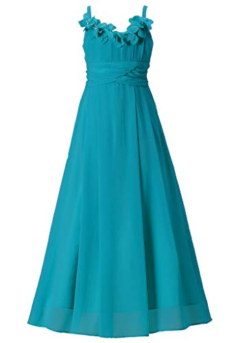Happy Rose Long Chiffon Flower Girls Juniors Bridesmaid Dress Peacock Blue 18