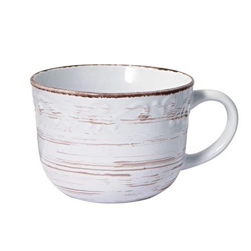 Trellis White Jumbo Soup Mug