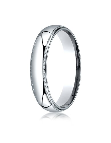 Mens Platinum, 5mm Slim Profile Comfort-Fit Ring with Milgrain (sz 9.5)