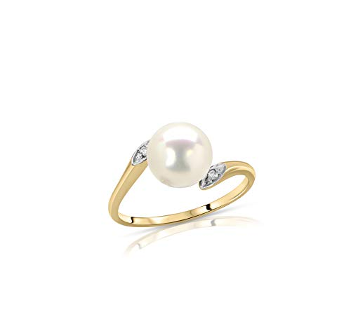 (Regalia White Akoya Cultured Pearl Ring in 14K Yellow Gold with .02ct Diamonds - Size 7 )