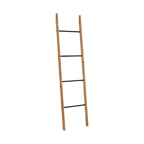 """Amazon Brand – Rivet Contemporary Fir Decorative Blanket Ladder with Iron Rungs - 71.65""""H, Black and Natural Wood"""