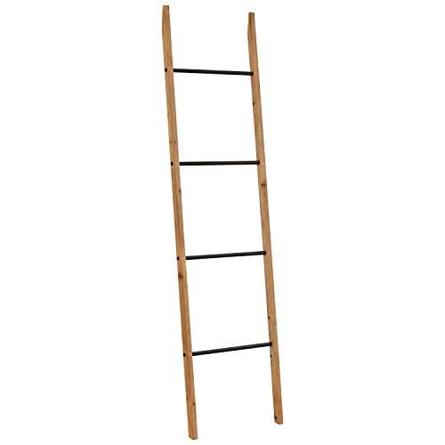 Rivet Contemporary Fir Decorative Blanket Ladder with Iron Rungs, 71.65'H, Black, Natural Wood