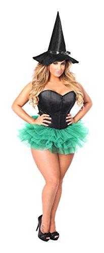 Daisy Corsets Women's Lavish Flirty Green Witch Corset Costume, Black, Medium (Black Sequin Witch Costume)