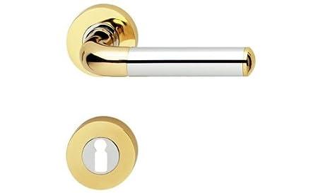 Beau Jado Polished Brass/Polished Chrome Lever Lock Door Handles For ...