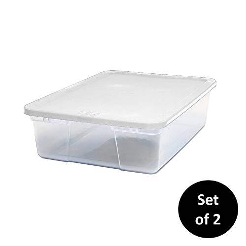 Shallow Storage Bins (Homz 28 Quart Snaplock Container Clear Storage Bin with Lid, 2 Pack,)