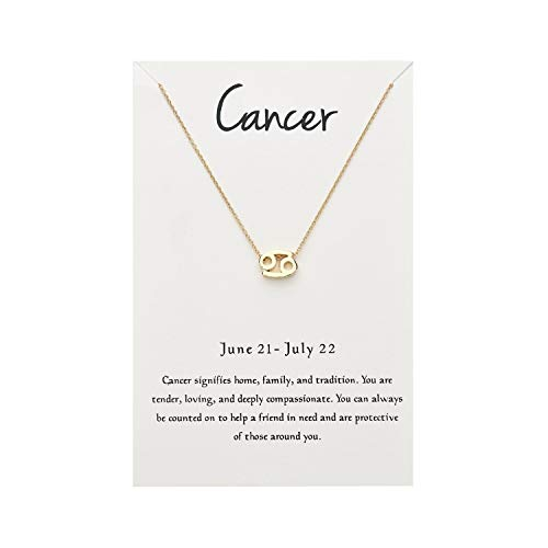 EONSIRIS Horoscope Cancer Pendant Necklace Astrology Signs Constellation Zodiac Gold Plated Chain with Gifts Card for Women Girls (Zodiac Horoscope Cancer Sign)