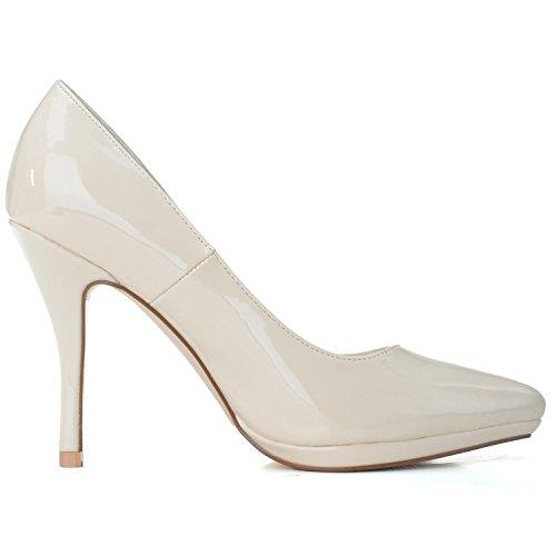 Femmes PU En De De HX Platform YC L Mode Chaussures Cuir Pointu 23 41 Talons Mariage 0255 champagne Hauts La 5wO4f0qv