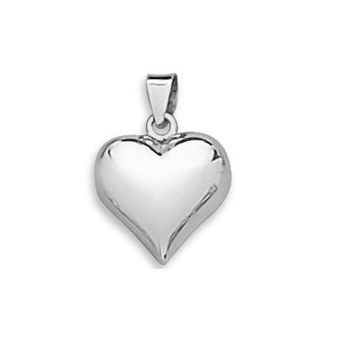 Amythyst Small Silver Tone Stainless Steel Skinny Puffy Heart Pendant