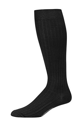 (Boardroom Socks Men's Over the Calf Pima Cotton Dress Socks, Black)