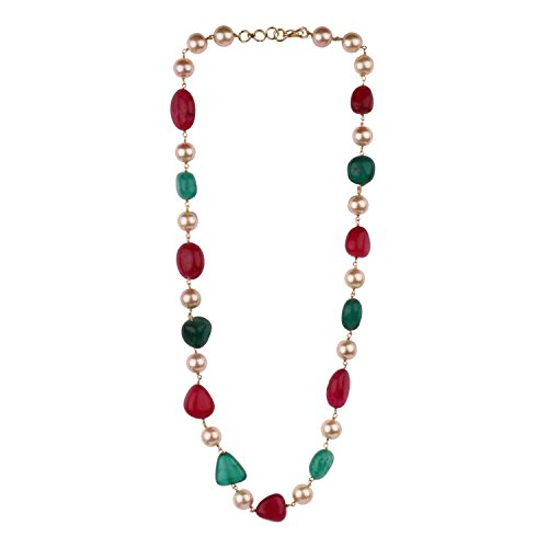 Efulgenz Indian Bollywood Ruby Emerald Pearl Beaded Strand Bridal Necklace Wedding Jewelry for Women