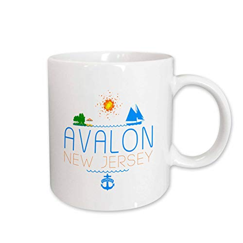 3dRose Alexis Design - American Beaches New Jersey - Avalon, New Jersey decorative text, images. Summer holidays - 15oz Two-Tone Red Mug (mug_311733_10)