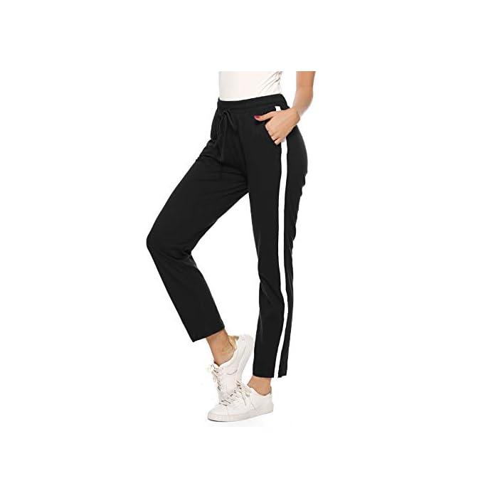 31i1MbAjfRL Pantalón largo para deportes, dormir y también para la calle. Los elegantes pantalones de ocio son adecuados para muchos deportes, correr, hacer ejercicio o en el gimnasio. Y también puede como un sudor informal en el tiempo libre. Pantalones de mujer con rayas en los laterales, con cintura elástica con cordón y dos bolsillos. 100% Algodón