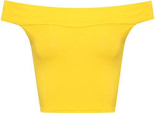 WearAll Women's Off Shoulder Plain Short Crop Bandeau Open Cowl Neck Top - Yellow - US 8-10 (UK 12-14)