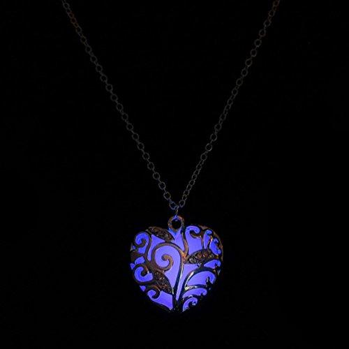 - Unpara Heart Glow Necklace Jewelry Magical Aqua Blue Tree In The Dark Pendant Necklace Gift (Purple)