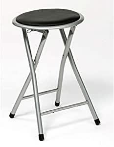 Black Folding kitchen Stool/Chair with padded seat