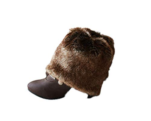 Tngan Womens Faux Fur Leg Warmers Boot Covers Furry Boot Cuff Short Boot Sleeves Deep Brown -