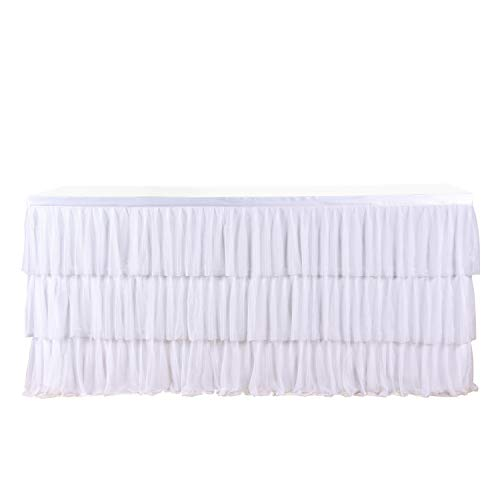 6ft Tulle White Table Skirt For Round Or Rectangle Table With 3 Layer Dust Ruffle Skirting For Party, Meeting, Birthday, Wedding Decoration And Home Decor(L72InchH30Inch) by CO-AVE