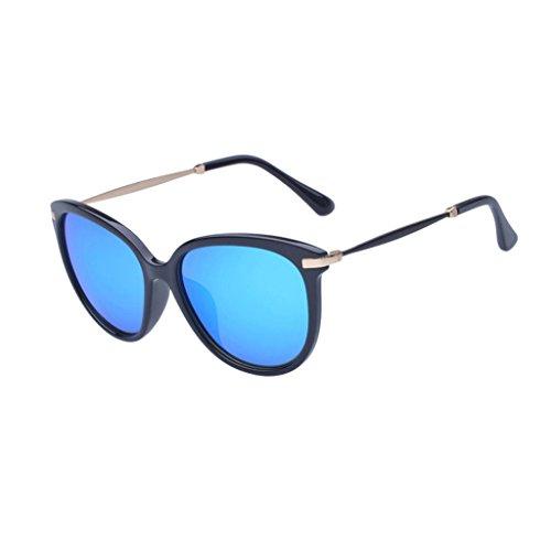 Samuel Vintage Retro Unisex UVA/UVB HD Antigare Full-rim Wayfarer Sunglasses (ice blue lens/black frame, ice blue)