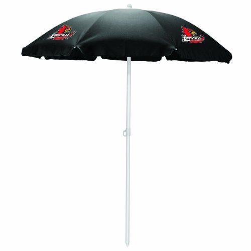 NCAA Louisville Cardinals Portable Sunshade Umbrella, Black by Picnic Time by PICNIC TIME