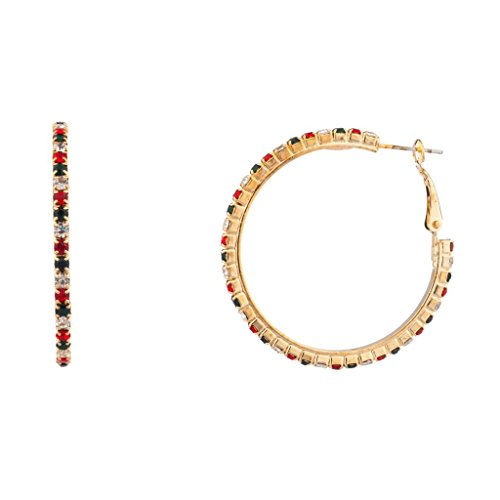Lux Accessories Christmas Xmas Star Studded Embellisted Holiday Hoop Earrings Clear Red Green