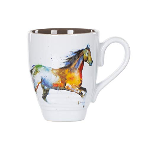 Dean Crouser Running Horse Watercolor Brown 16 Ounce Glossy Stoneware Mug With ()