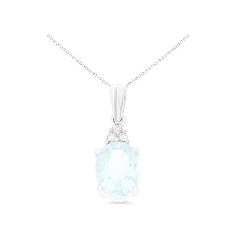 14K White Gold 6 x 8 mm. Oval Genuine Aquamarine and Diamond Pendant With Square Rolo Chain Necklace - Genuine Square Aquamarine Pendant