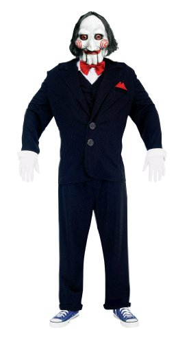 Jigsaw Puppet Costumes (Paper Magic Men's Jigsaw Adult Puppet Costume And Mask, Black, Large)