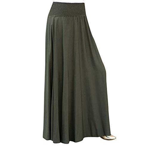 RAINED-Women Elastic Waist Long Skirt Solid Pleat Skirt Vintage Loose Maxi Skirt Casual Flowy Dress Knee Length Skirt Army Green ()