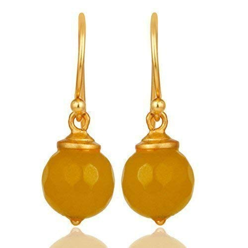 Yellow Moonstone Dangle In Gold Plated 925 Silver Jewelry