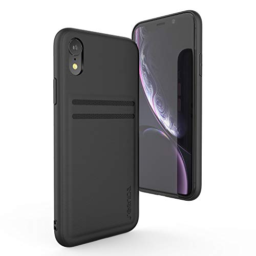 Leather Case Cover Case - Wallet Case Compatible iPhone XR 6.1 inch - seenda Protective Phone Cover Genuine Leather Case with Card Slot Holder Wallet Cases for iPhone XR 6.1'' 2018 - Black