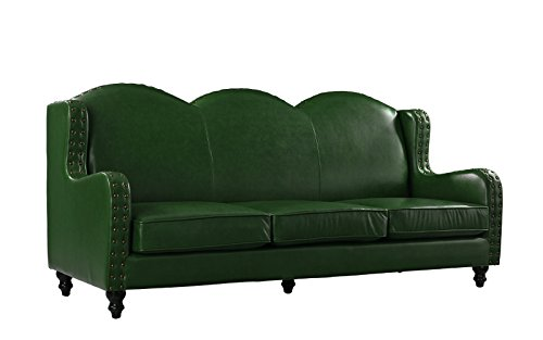 Leather Match Sofa 3 Seater, Living Room Couch, Loveseat for 3 with Nailhead Trim (Green) (Chesterfield Sofa Material)