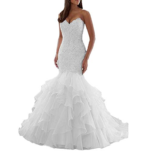 - BRLMALL Long White Mermaid Wedding Dresses with Train Lace Sweetheart Plus Size Lace Organza Bridal Gowns 24W