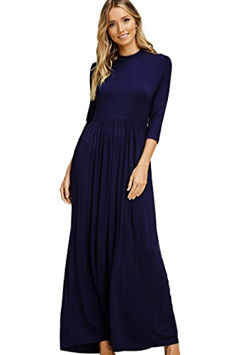 Annabelle Women's Quarter Sleeve Round Neck Pleated Full Length Solid Print Dress with Side Slanted Pockets Navy Small -