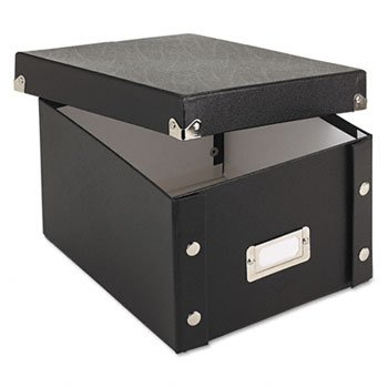 Collapsible Index Card File Box (Snap-N-Store SNS01647 Collapsible Index Card File Box, Holds 1,100 5 x 8 Cards, Black)