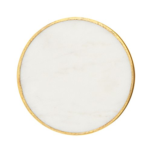Set of 4 Marble Coasters with Gold Rim - Decorative Marble Coasters for Protecting Furniture Surface from Damage – Tableware Accessory for Dining Tables, Kitchen Countertops by Artisanal Creations by Artisanal Creations