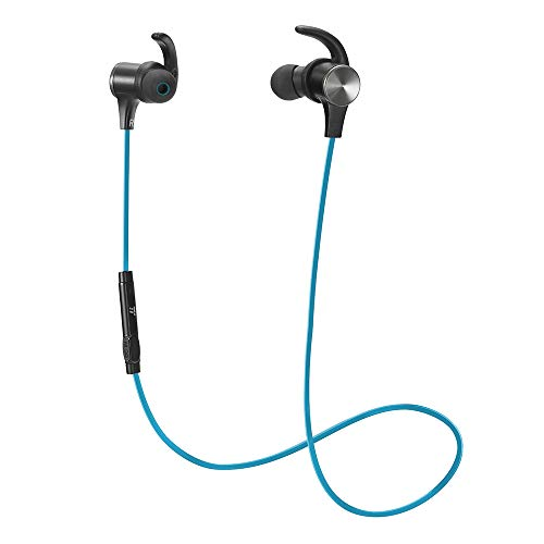Bluetooth Headphones, TaoTronics Wireless 5.0 Magnetic Earbuds, Snug Fit for Sports with Built in Mic TT-BH07 (IPX6 Waterproof, aptX Stereo, 9 Hours Playtime, CVC 6.0 Noise Cancelling Microphone) Blue