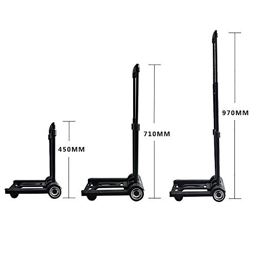 Luggage Cart Folding Hand Truck, 60 Kg Heavy Duty 4-Wheel Solid Construction Utility Cart Compact and Lightweight for Luggage, Personal, Travel, Auto, Moving and Office Use,Luggagecart(Withbackpack) by DW&H (Image #1)