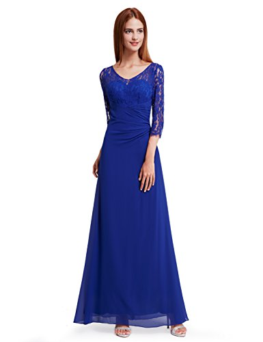 Ever-Pretty Womens Lace Long Sleeve Floor Length Evening Gown 4 US Sapphire Blue