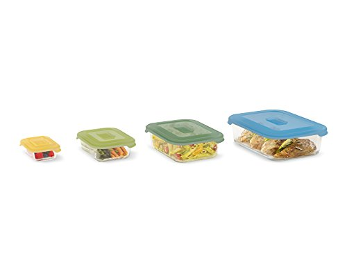 Joseph Joseph Nest Glass Storage, Freezer Oven Microwave Dishwasher Safe, 8-Piece Set, Multi-colored
