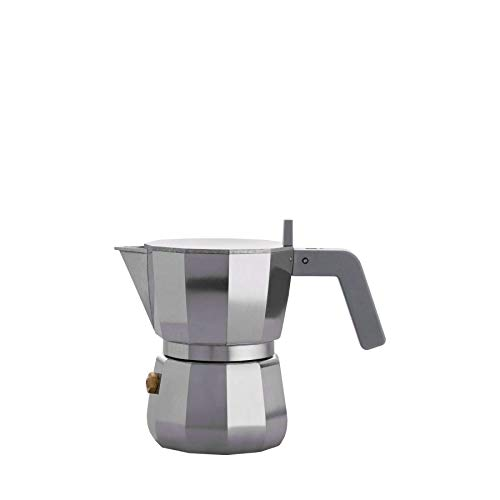 Alessi Espresso Coffee Maker in Aluminium Casting. Handle and knob in PA, Grey. 1 Cup.