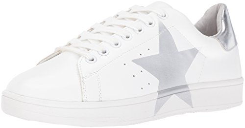 Steve Madden Women's Rayner Fashion Sneaker, White/Silver Leather, 8.5 M US