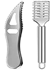 Auch 2 Pieces Fish Scaler Remover Fish Scaler Brush Stainless Steel Sawtooth Scarper Remover with Handle Faster and Easier Fish Scales Skin Removing Peeling