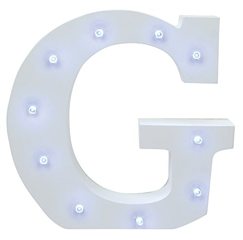 Creative Hobbies® Decorative Light Up Wooden Alphabet Letter, 6.25 Inch Tall, White MDF, with Battery Operated LED Lights, Letter G